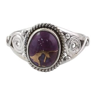 Handcrafted Sterling Silver 'Purple Attunement' Composite Turquoise Ring (India)