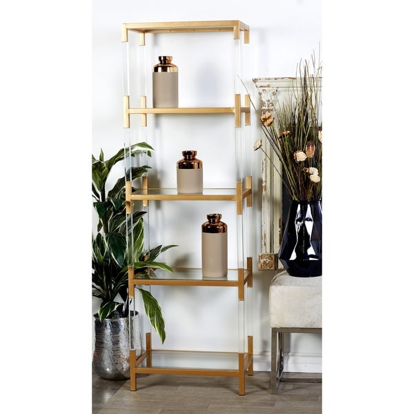 22 X 69 Clear Acrylic And Gold Metal 5 Tier Bookshelf By Studio