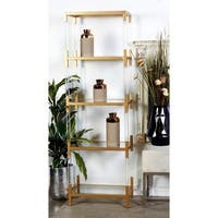 "22"" x 69"" Clear Acrylic and Gold Metal 5-Tier Bookshelf by Studio 350"