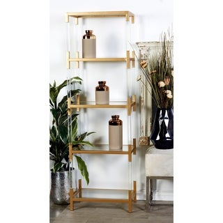 22 x 69 Clear Acrylic and Gold Metal 5-Tier Bookshelf by Studio 350