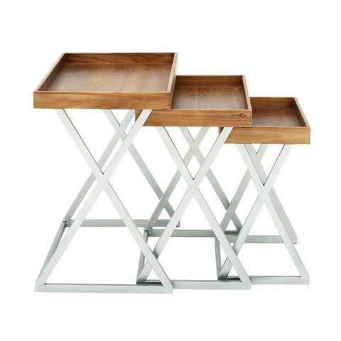 Studio 350 Metal Wood Tray Table Set of 3, 20 inches, 23 inches, 25 inches high