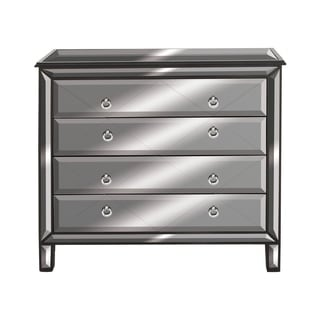 Benzara Wood Mirrorred 4-drawer Chest