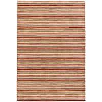 eCarpetGallery Luribaft Gabbeh Riz Brown/Yellow Wool Hand-knotted Rug (4' x 6')