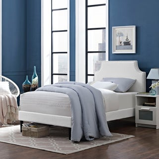 Laura White Vinyl Platform Bed with Round Tapered Legs