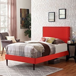 Phoebe Azure Fabric Platform Bed with Round Tapered Legs