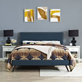 Phoebe Azure Fabric Platform Bed with Round Splayed Legs