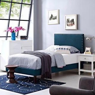Phoebe Atomic Red Fabric Platform Bed with Squared Tapered Legs