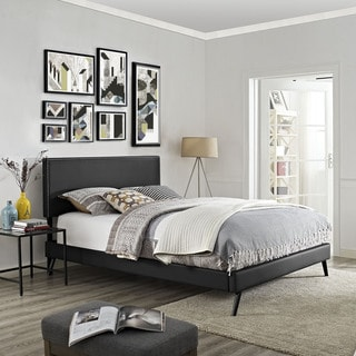 Phoebe Azure Fabric Platform Bed with Squared Tapered Legs