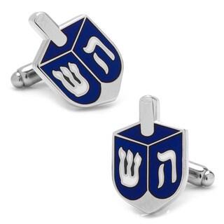 Cufflinks Inc Blue and Silver-tone Brass Dreidel Cufflinks