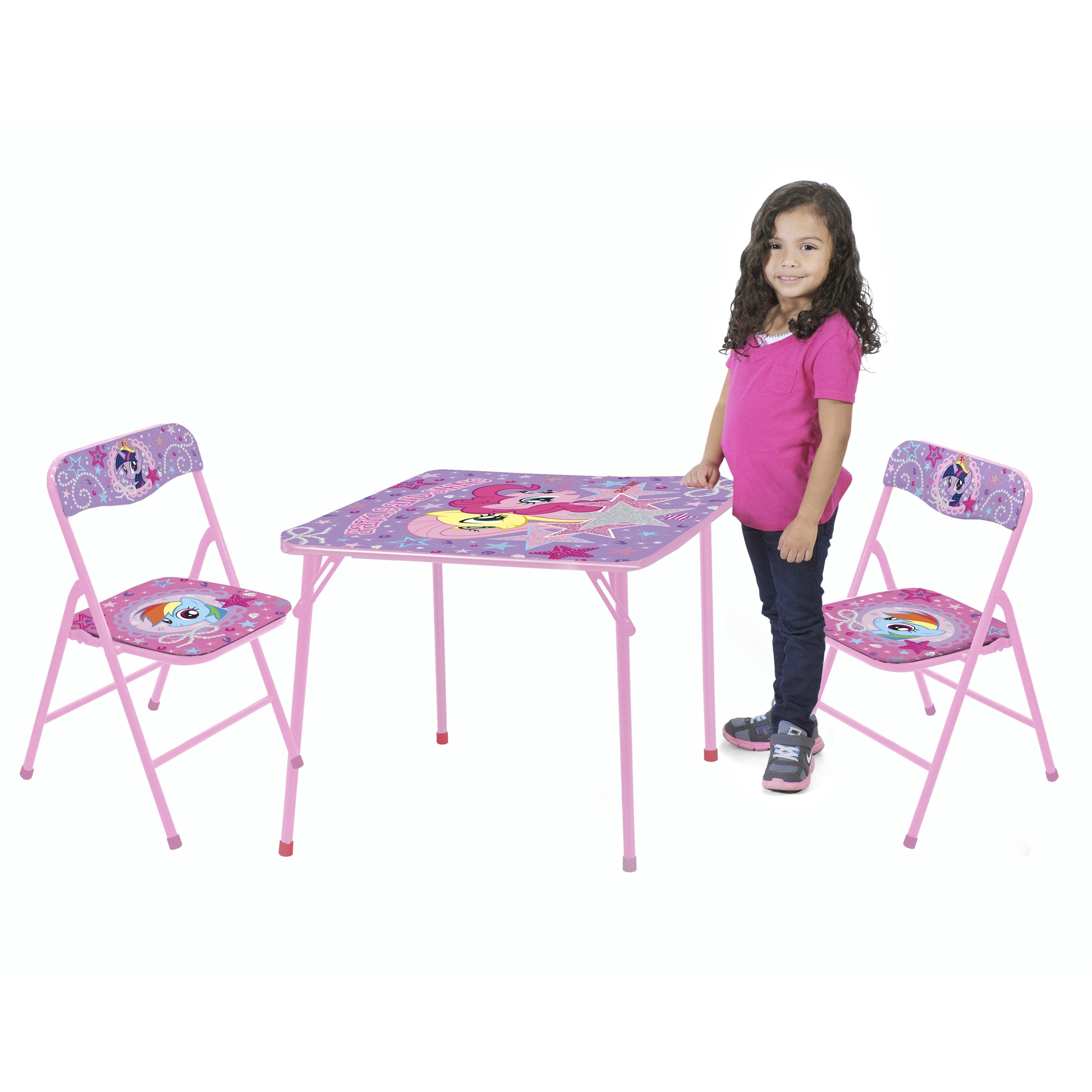MY LITTLE PONY 3-piece Wood/Metal (Grey) Table and Chair ...