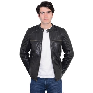 Link to Men's Leather Snap-collar Jacket with Quilted Shoulders Similar Items in Men's Outerwear
