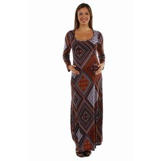 24/7 Comfort Apparel Women's Queen Bee Patterned Maternity Maxi Dress