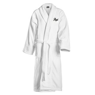Papi and Mami Embroidered White Shawl Collar Robe (2 options available)