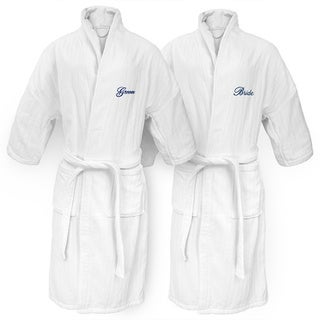 Bride and Groom Embroidered White Railroad Robe