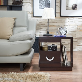 Furniture of America Barclan Contemporary Slatted Espresso End Table