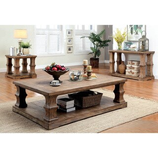 Furniture of America Temecula I Shabby Chic 3-piece Natural Tone Distressed Accent Table Set