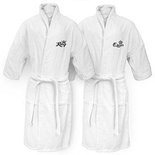 King and Queen Embroidered White Railroad Robe