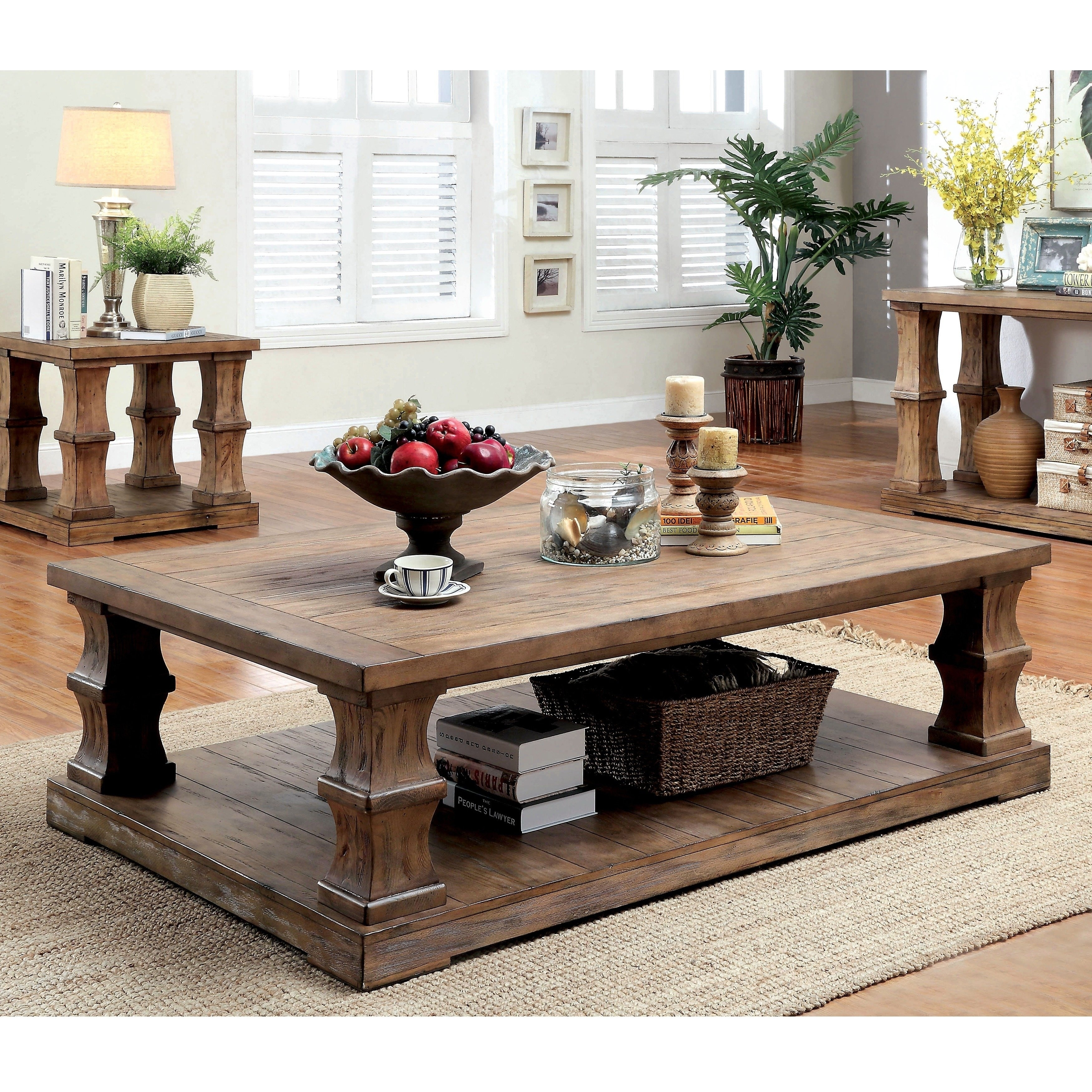 Furniture Of America L Transitional Brown Solid Wood Coffee Table