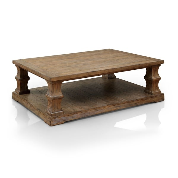 Distressed Natural Wood Coffee Table: Shop Temecula I Shabby Chic Distressed Natural Tone Coffee