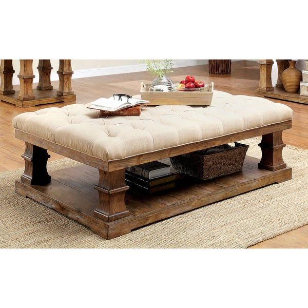 Furniture of America Temecula II Shabby Chic 2-piece Natural Tone Distressed Coffee and End Table Set