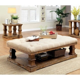 Furniture of America Kass Rustic Pine 2-piece Accent Table Set