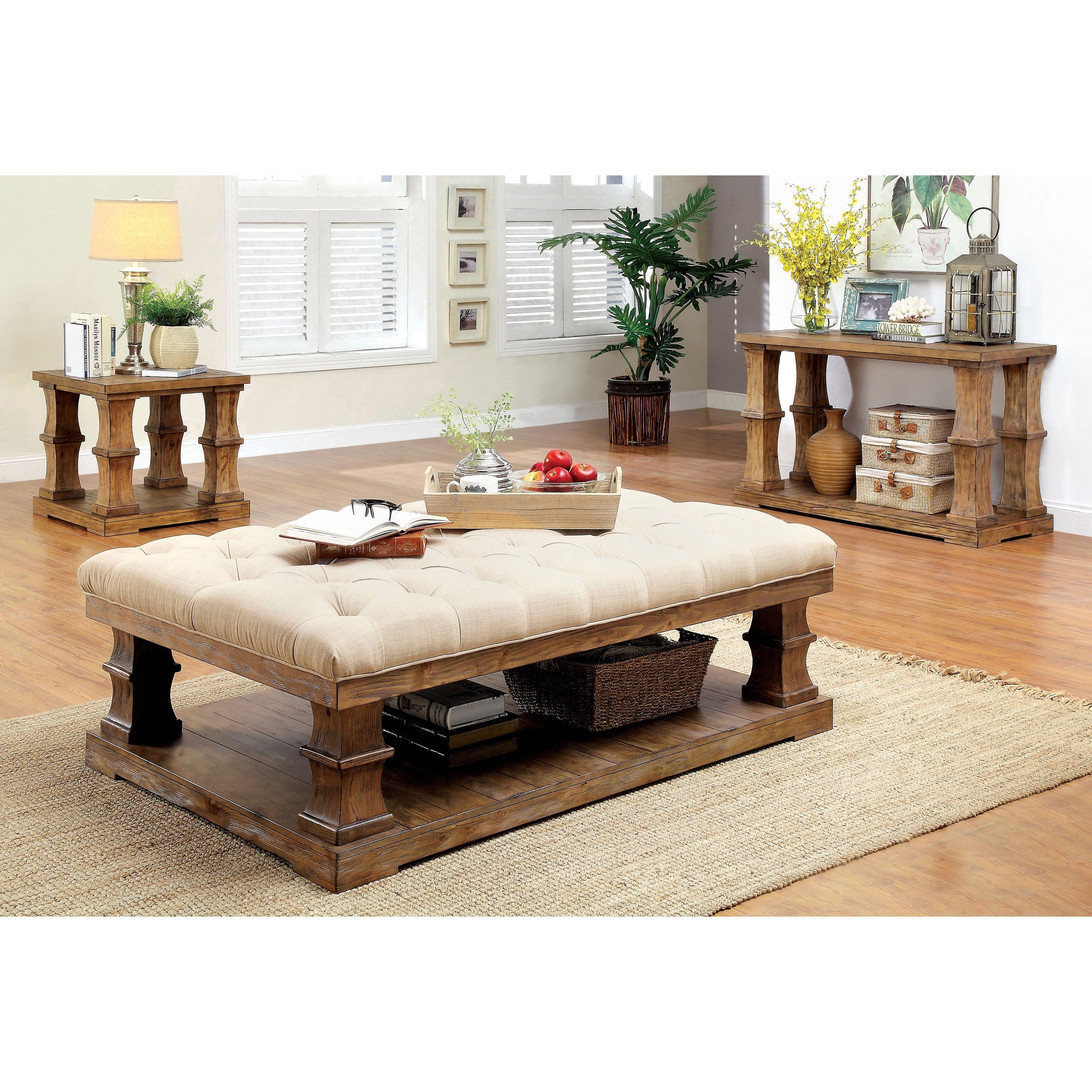 Furniture Of America K Country Brown 3 Piece Accent Table Set