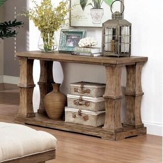 Furniture of America Temecula Rustic Brown Solid Wood Sofa Table