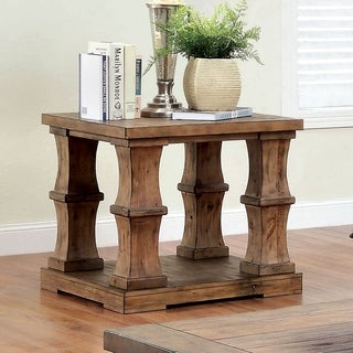 Furniture of America Temecula Shabby Chic Natural Tone Distressed End Table
