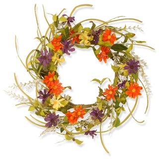 Multi-color 22-inch Floral Daisy Wreath