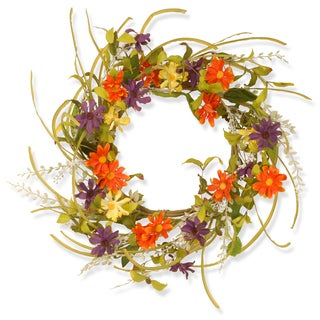 Multi-color 22-inch Floral Daisy Wreath