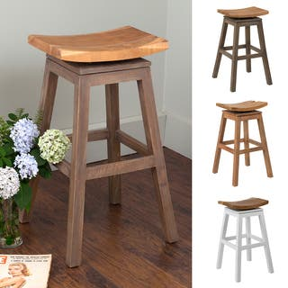 30 Inch High Saddle Seat Wood Barstool With Auto Swivel