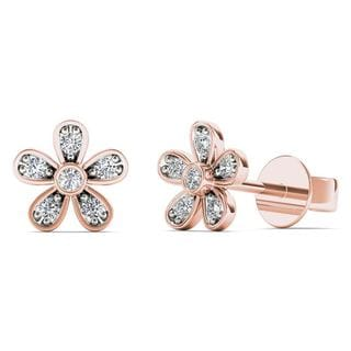AALILLY 10k Rose Gold Diamond Accent Cute Flower Stud Earrings (H-I, I1-I2)