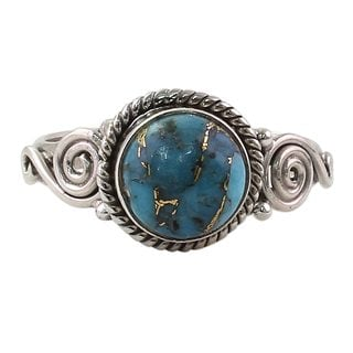 Handcrafted Sterling Silver 'Blue Attunement' Composite Turquoise Ring (India)