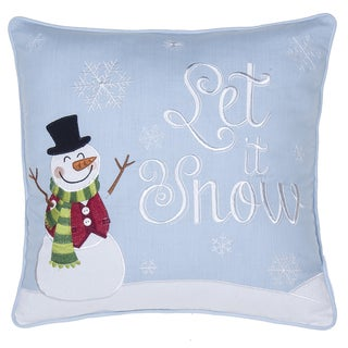 'Let It Snow' Multicolor Polyster and Cotton 17-inch Square Throw Pillow