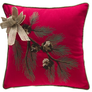 winter foliage red polyester 18inch throw pillow