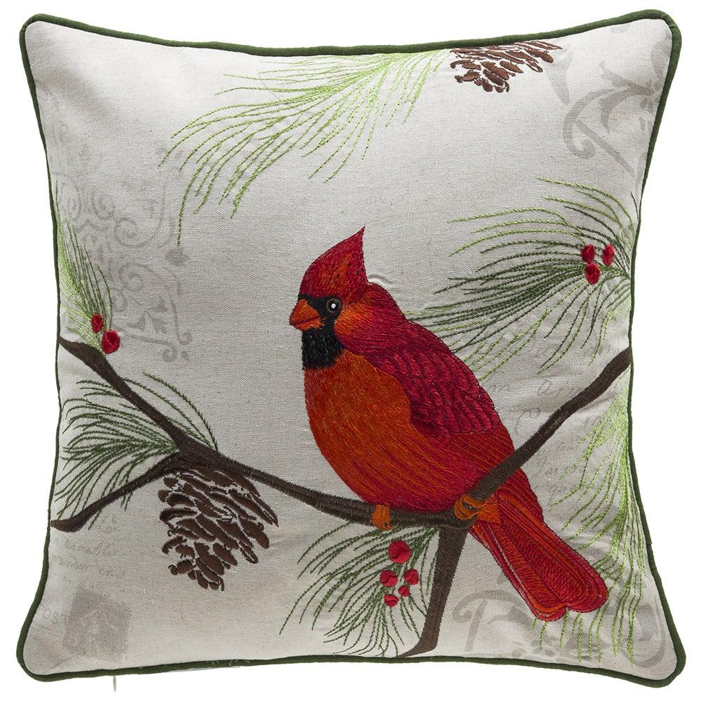 Christmas Cardinal Linen Polyester Throw Pillow Overstock 13228707