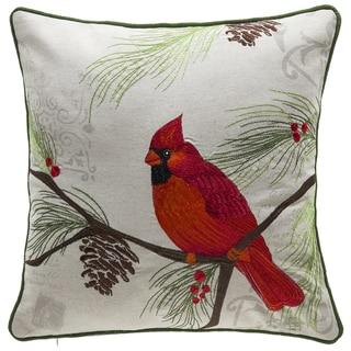 Christmas Cardinal Linen/Polyester Throw Pillow