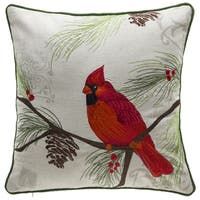Christmas Cardinal Linen/Polyester Throw Pillow