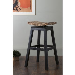 East At Main's Carter Black Coconut Shell Inlay Barstool