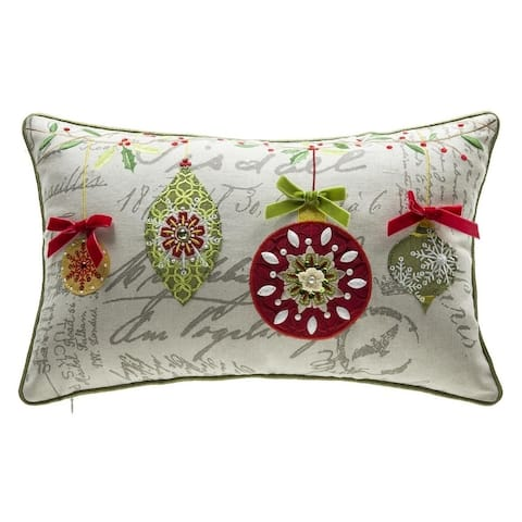Mini Ornaments Embroidery Lumbar Throw Pillow
