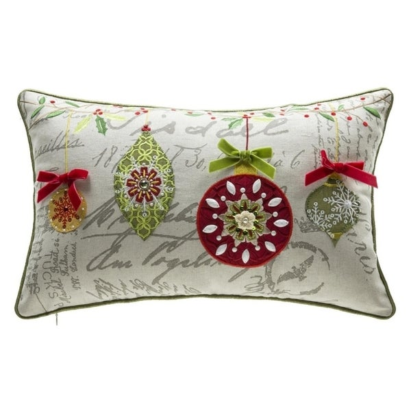 Shop Mini Ornaments Embroidery Lumbar Throw Pillow Free