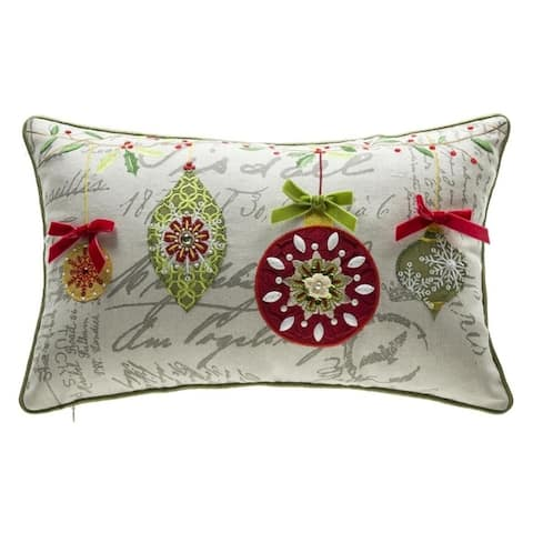 Mini Ornaments Embroidery Lumbar Throw Pillow