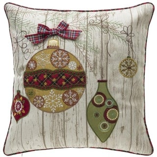 Multicolored Linen/Polyester Ornamental Christmas Throw Pillow (Option: Multi)