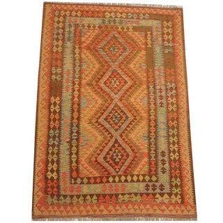 Herat Oriental Afghan Hand-woven Tribal Wool Kilim (5'2 x 7'7)