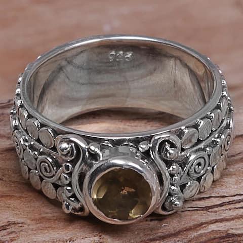 Handmade Swirling Serenity Sterling Silver Citrine Ring (Indonesia)