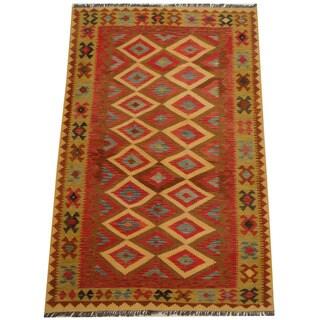 Herat Oriental Afghan Hand-woven Tribal Wool Kilim (5'2 x 8')