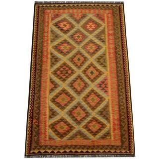 Herat Oriental Afghan Hand-woven Tribal Wool Kilim (5'1 x 8'2)