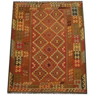 Herat Oriental Afghan Hand-woven Tribal Wool Kilim (6'1 x 7'9)