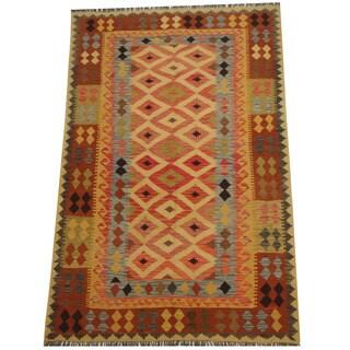 Herat Oriental Afghan Hand-woven Tribal Wool Kilim (5'6 x 8'7)
