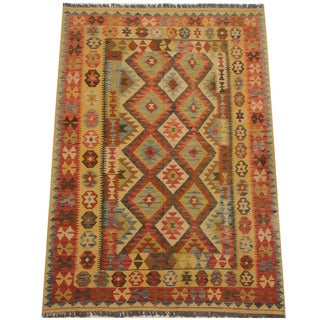 Herat Oriental Afghan Hand-woven Tribal Wool Kilim (5' x 7'2)
